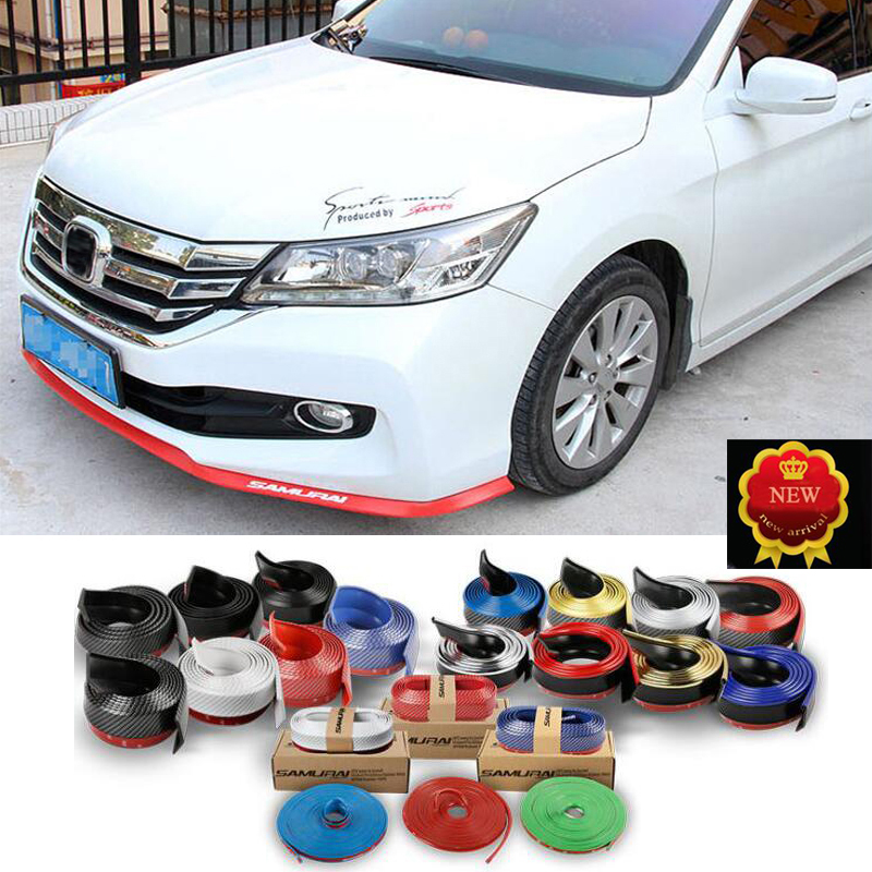Car Styling 2.5m Door Protector Strip Front Bumper strip Stickers Rubber Decorative Universal version