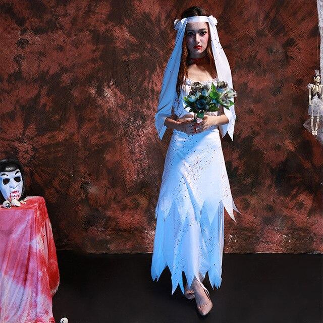 695446737413 Donna White Sposa Cadavere Costume Del Fantasma con Cosplay Sangue Per  Halloween Party di Carnevale Uniforme