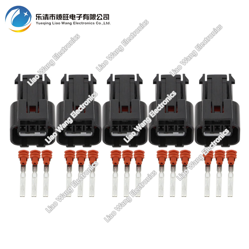 5 PCS 3 Pin <font><b>Kum</b></font> 62 Z 060 <font><b>Connector</b></font> Female Waterproof Plug KPB016-03427 DJ7035A-1.5-21 3P image