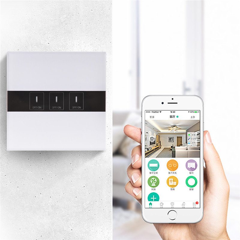 3-Way WIFI Smart Touch Switch Panel APP Remote Control Light Switch Work With Alexa Home Voice Controlled k1rf ltech one way touch switch panel ac200 240v input can work with vk remote page 3