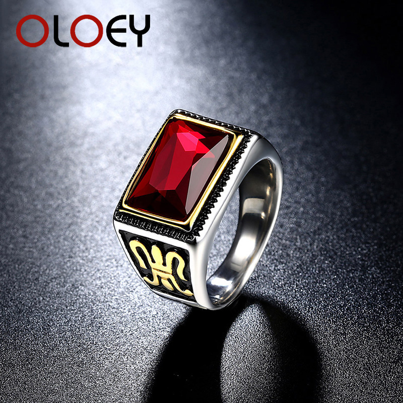 OLOEY 2018 Mens Gold Color Vintage Signet Ring Rectangle Red Stone Punk Gothic Rings for Men
