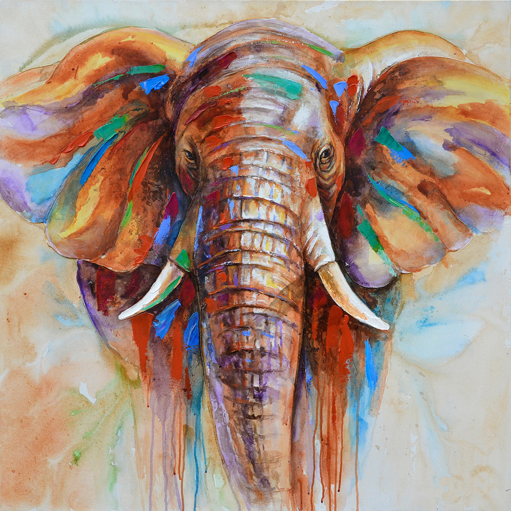 High quality wildlife colorful elephant picture print canvas prints home decor picture for Colorful elephant home decor