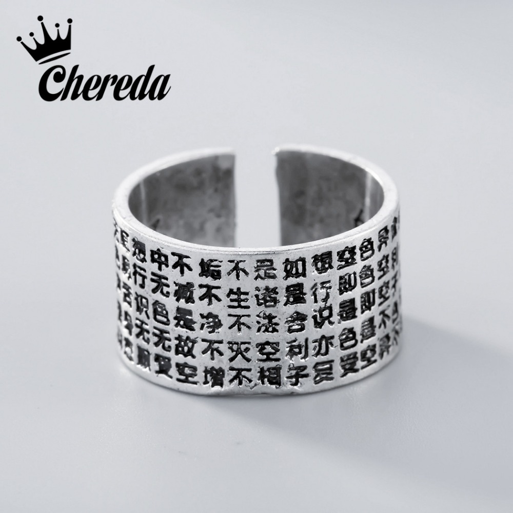 Chereda Silver Pated Carved Rings For Men Party Birthday Gift Adjustable Jewelry Antique Opening Style Ring