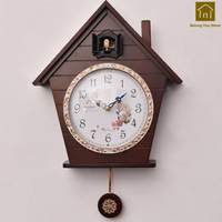 Cute Wood Creative Wall Clock Living Room Silent Designer Wall Clocks Cuckoo Reloj Cucu Time Wanduhr Decorative Supplies WKP145