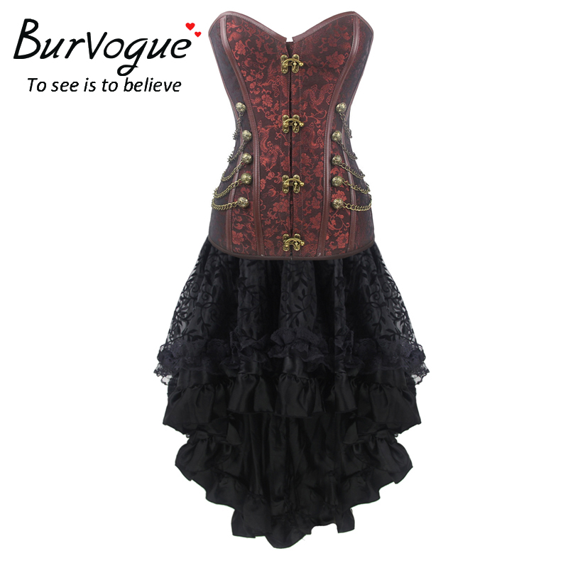 Burvogue New Women Gothic Jacquard Party Steampunk Lace Maxi   Corset   Dress Push Up   Corsets     Bustier   Top Steampunk   Corsets   & Skirts