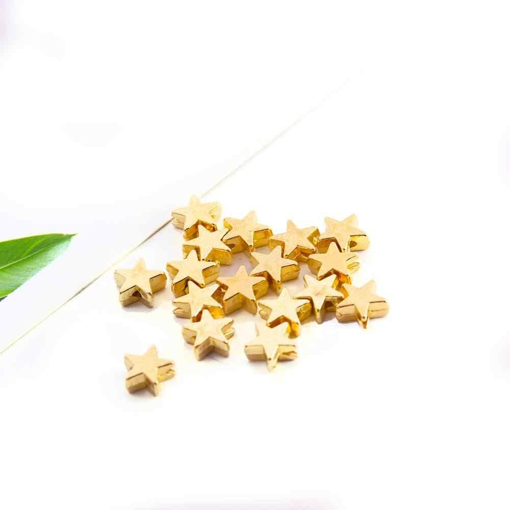 200 Pcs/lot 6*6 Mm Di Dalam Lubang 1 Mm CCB Emas Warna Perak Bintang Pengatur Jarak Manik-manik Ujung Manik-manik DIY Membuat Perhiasan Pesona Manik-manik