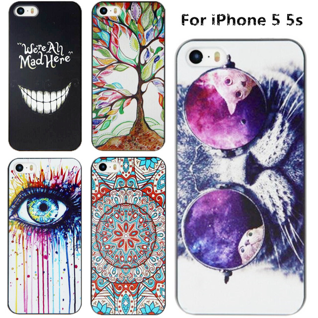 Embossment Effect Luxury Painting Case For Apple iPhone 5s Cover iPhone5 Cases Hard Back Cover For iPhone 5 SE