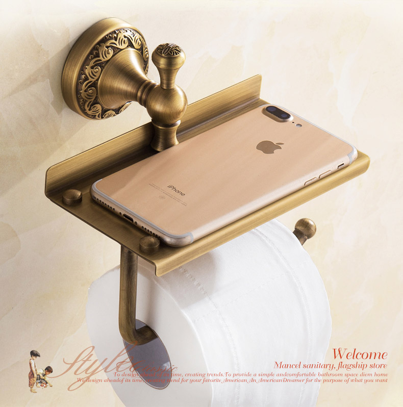 IMPEU Bathroom Paper Holder, Solid Brass, Multi Function Paper Roll Holder With Mobile Phone Storage Shelf, Designer Collection