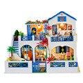 2017 Hot Sale Presentes de Ano Novo Diy Modelo de Casa de Boneca Móveis casa de Bonecas Em Miniatura Modelo De Construção de Madeira de Presente de Aniversário