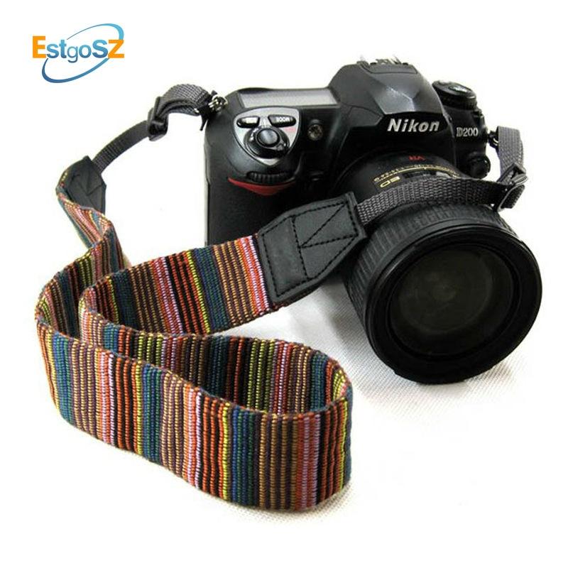 EStgoSZ Vintage Style Stripes Soft Neck Camera Straps Shoulder Belt Grip For DSLR For Nikon For Canon For Sony For Pentax