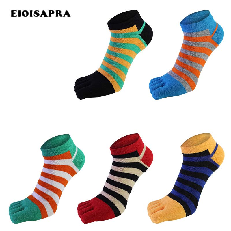 [EIOISAPRA]Men Pure Cotton Toe   Sock   Breathable Absorb Sweat Striped Five Finger   Socks   Colorful Shining Handmade Meias
