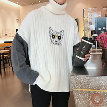 2017 Winter Men's Fashion Cat Embroidery Knitting Woolen Pullover Warm Casual Loose Turtleneck Sleeve Splice Color Sweater S-XL