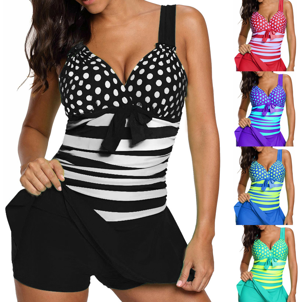 bikini 2018 Women Plus Size Tankini Set Boy Shorts Dot Padded Push Up Swimdress swimsuit girls high waisted sexy bikini set #30 sexy cami purple high waisted women s bikini set