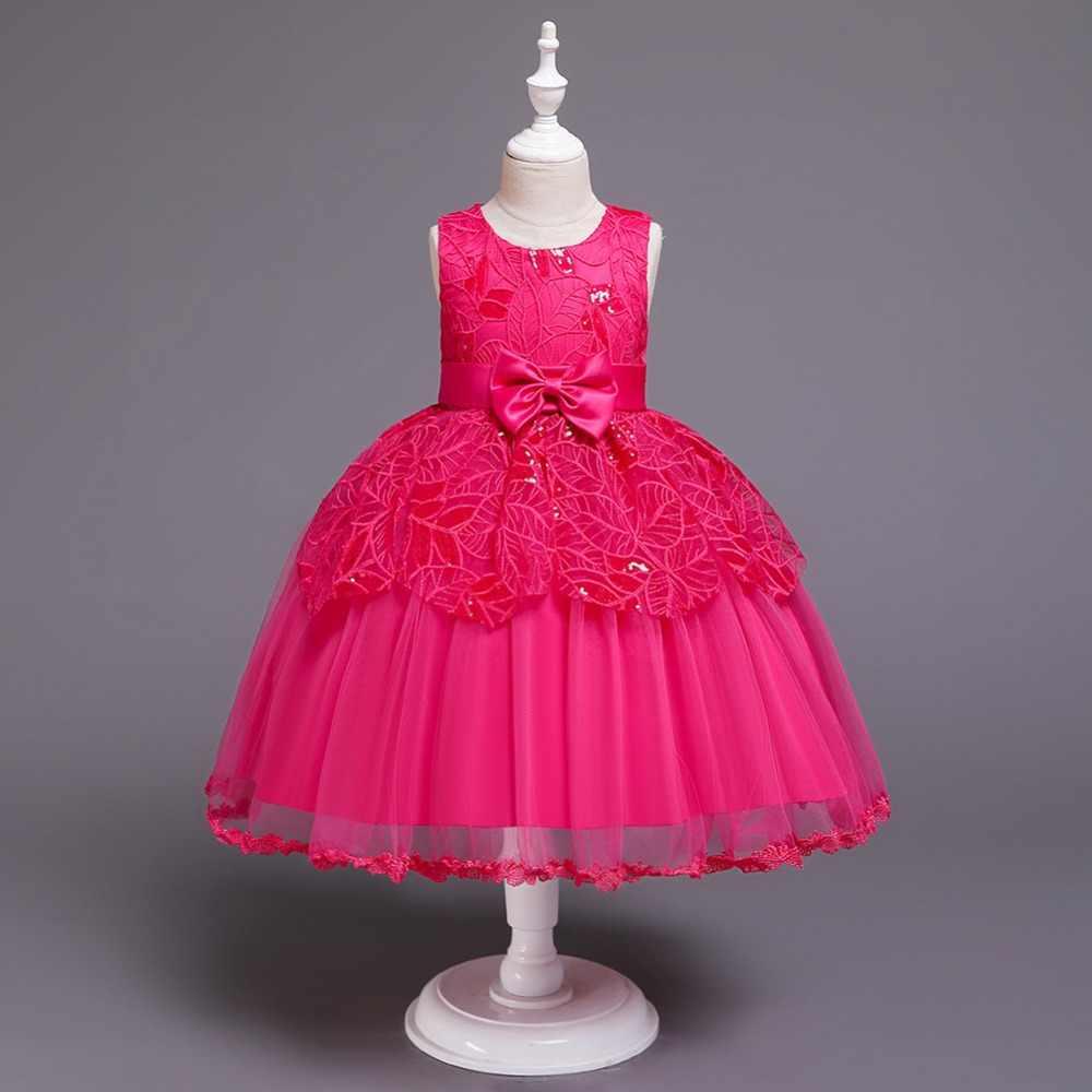 Популярное элегантное платье для девочек, одежда для маленьких девочек, детское кружевное платье-пачка на день рождения, праздничное платье принцессы для девочек, детское свадебное платье