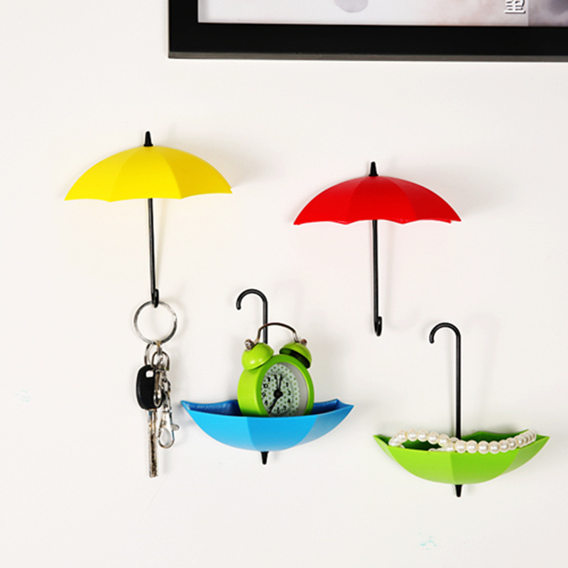 1set Fashion Umbrella Shape Self Adhesive Wall Mount Door Hook Hanger Wall Hooks  Bag Key Holder Keyring Gift Home Decor