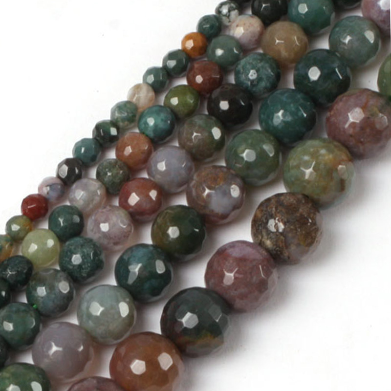 Gem-inside Natural Indian Agates Faceted Stone Beads For Jewelry Making 6-16mm 15inches DIY Jewellery