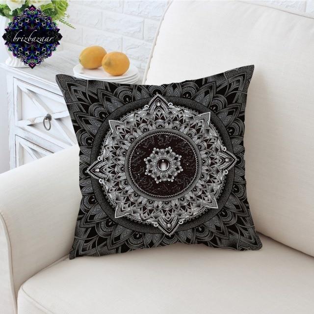 Mandala By Brizbazaar Cushion Cover Black White Flower Pillow Case
