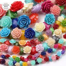 Perles de camélia en vrac, 1 brin/lot, perles de camélia mixtes de 15 et 20mm, pour la fabrication de bijoux, F2781