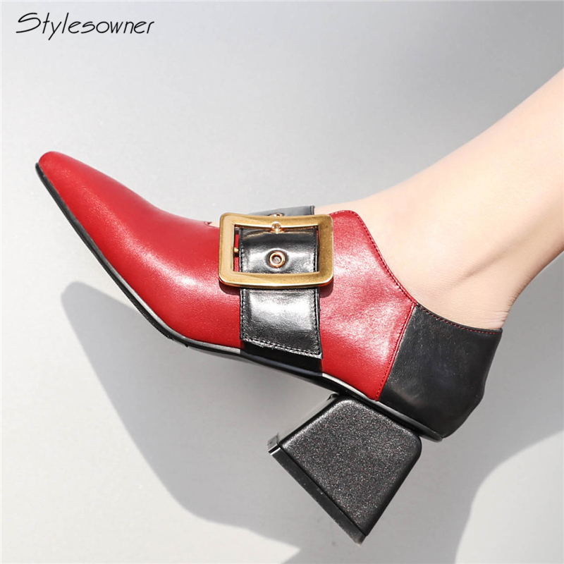 Stylesowner Women Slip On Wide Buckle Strap Low Heels Single Shoes Pointed Toe Genuine Leather Mixed Color Hoof Heels Pumps цена 2017