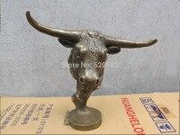 free 11DECO ART Bronze Sculpture OX head cattle Bust fast