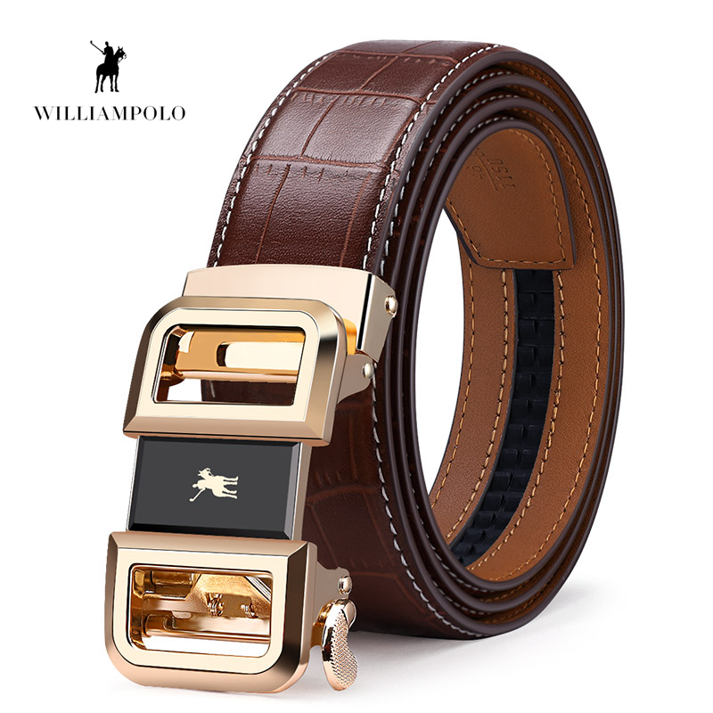 Williampolo Automatic Toothless Alloy Buckle Men Belt Genuine Leather Cowhide Strap For Male Business Men s
