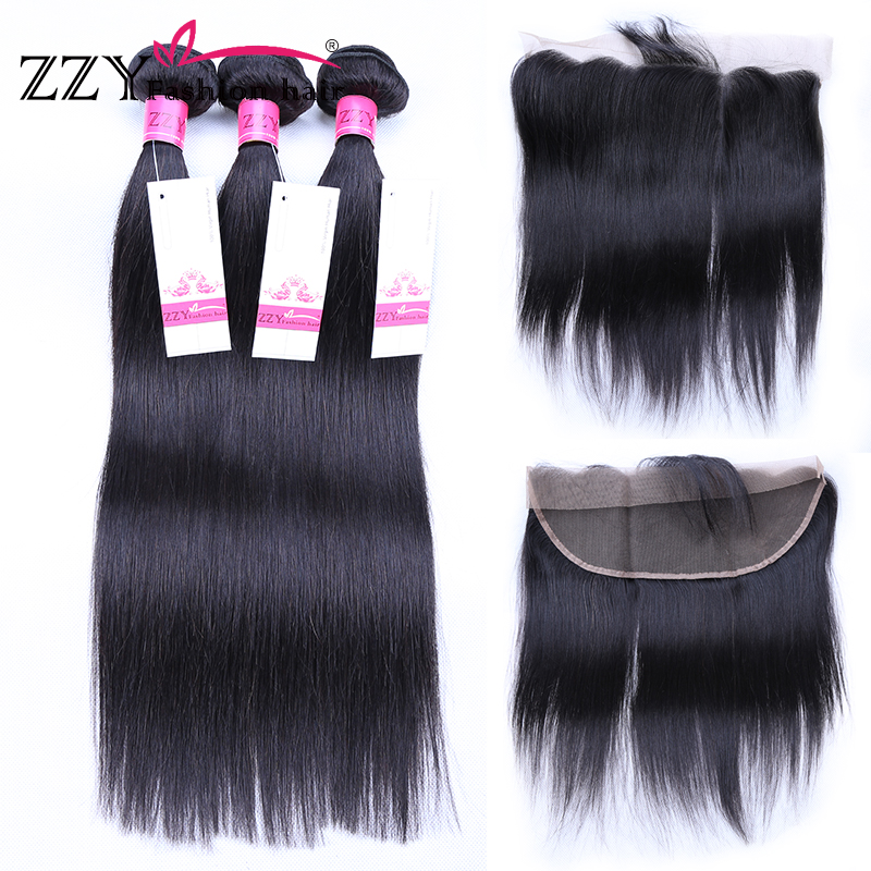 ZZY Fashion Hair Brazilian Straight Human Hair Bundles With Frontal 3 pcs Brazilian Lace Frontal Closure With Bundles
