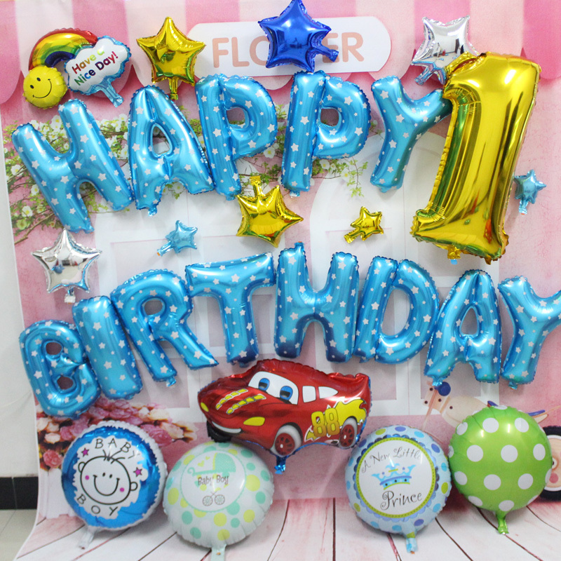 28pcs/set red car foil helium balloons  blue color Happy birthday balloon for bi