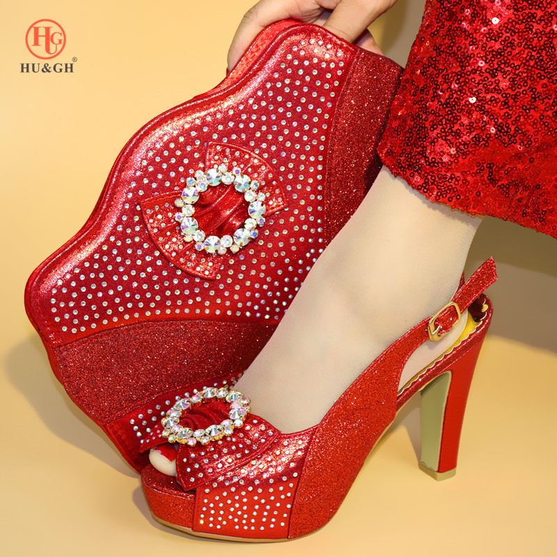 New Red Color Italian Shoes with Matching Bags African Women Wedding Shoes and Bag Set Nigerian Women Wedding Shoes and Bag Set hot artist shoes and bag set african sets italian shoes with matching bags high quality women shoes and bag to match set mm1055