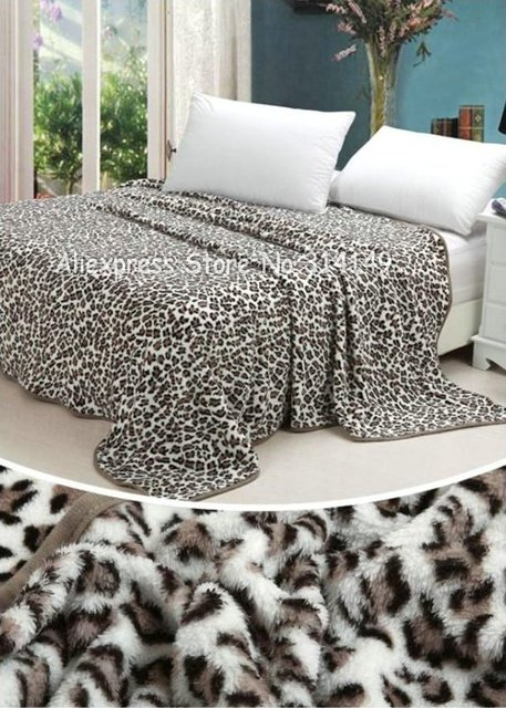 Free Shipping,Spring/Autumn Season Style Cool Leopard Pattern 150*200cm Coral Fleece Blanket Sofa Blanket Bed Sheets