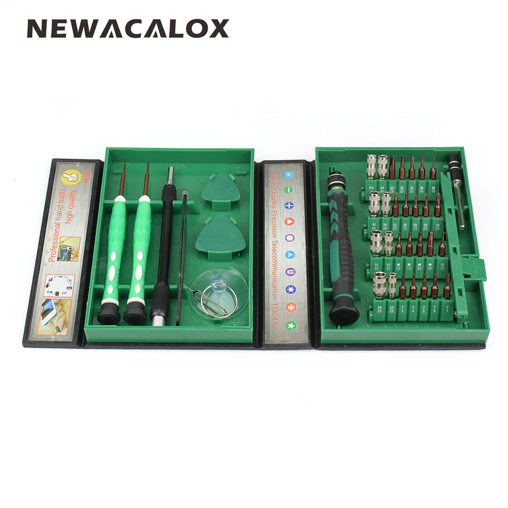 NEWACALOX 38 in 1 Precision Screwdriver Set Repair Tools Kit S2 Alloy Steel Torx Phillips for Glasses Cell Phone iPhone Laptop цена