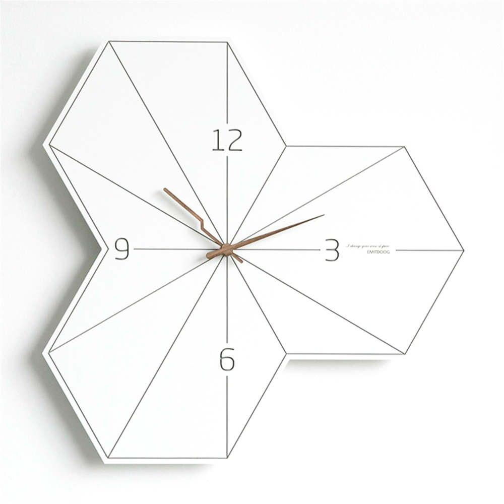 Ev ve Bahçe'ten Duvar Saatleri'de 14 inç İskandinav Yaratıcı Düzensiz Ahşap duvar saati s Modern Moda Oturma Odası Dekoratif Sanat duvar saati Yatak Odası Sessiz Saat'da  Grup 1