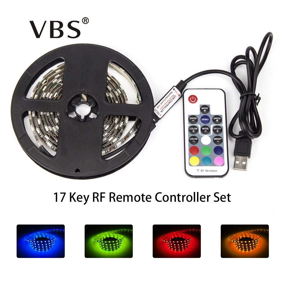 DC5V USB LED Strip 5050 RGB Flexible Light 1M 2M TV Iluminación de fondo RGB LED Strip Cinta adhesiva IP20 / IP65 impermeable 60led / m
