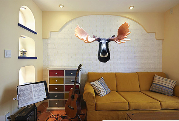 sales Pure New arrival Resin artificial animal lucky deer wall mural home decoration wall decoration