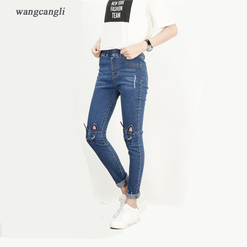 women jeans blue embroidery kitten spliced large size XL 5XL sexy slender stretch cowboy low waist decoration ripped moustache