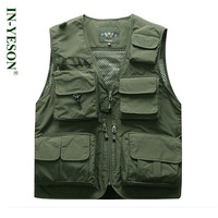 Brand Summer Mesh Vest With Many Pockets Breathable Reporter Photographer Vest Men Shooting Tactical Outerwear Waistcoat