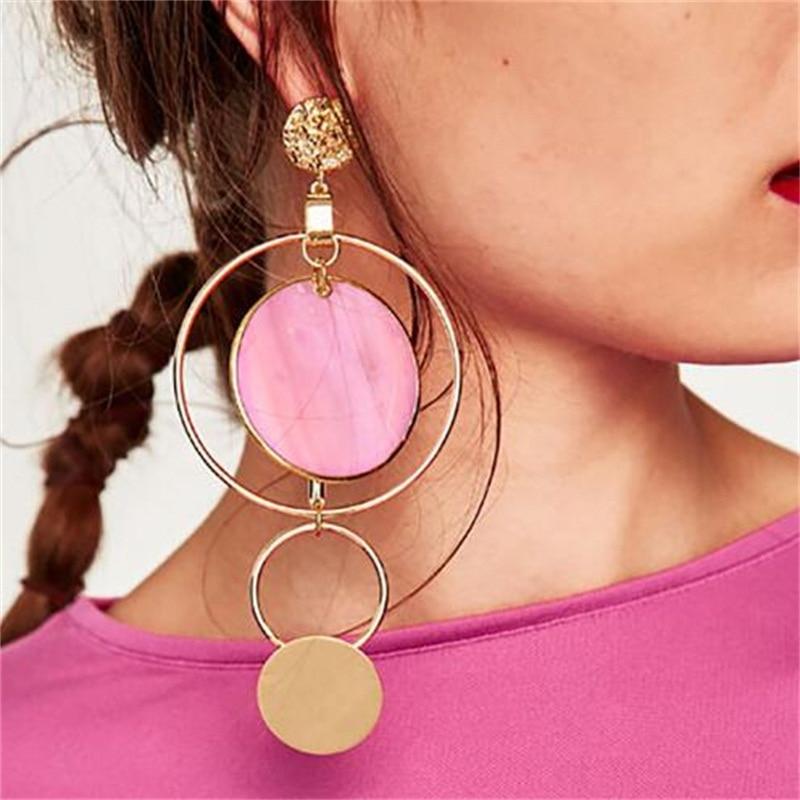 Women Fashion Big Earrings Long Round Circle Drop Dangle Earrings Trendy Jewelry Wedding Party