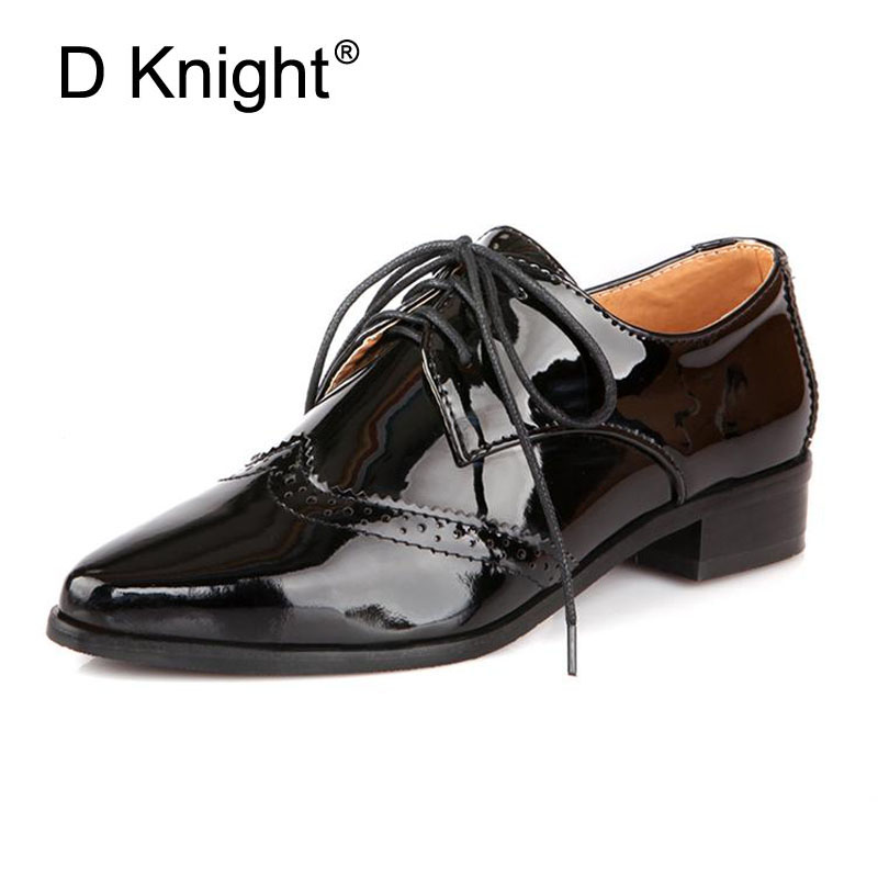New 2018 Spring Patent Leather Pointed Toe Lace Up Flat Oxford Shoes For Women Fashion England Style Women Oxfords Size 34-43 hot sale 2016 new fashion spring women flats black shoes ladies pointed toe slip on flat women s shoes size 33 43