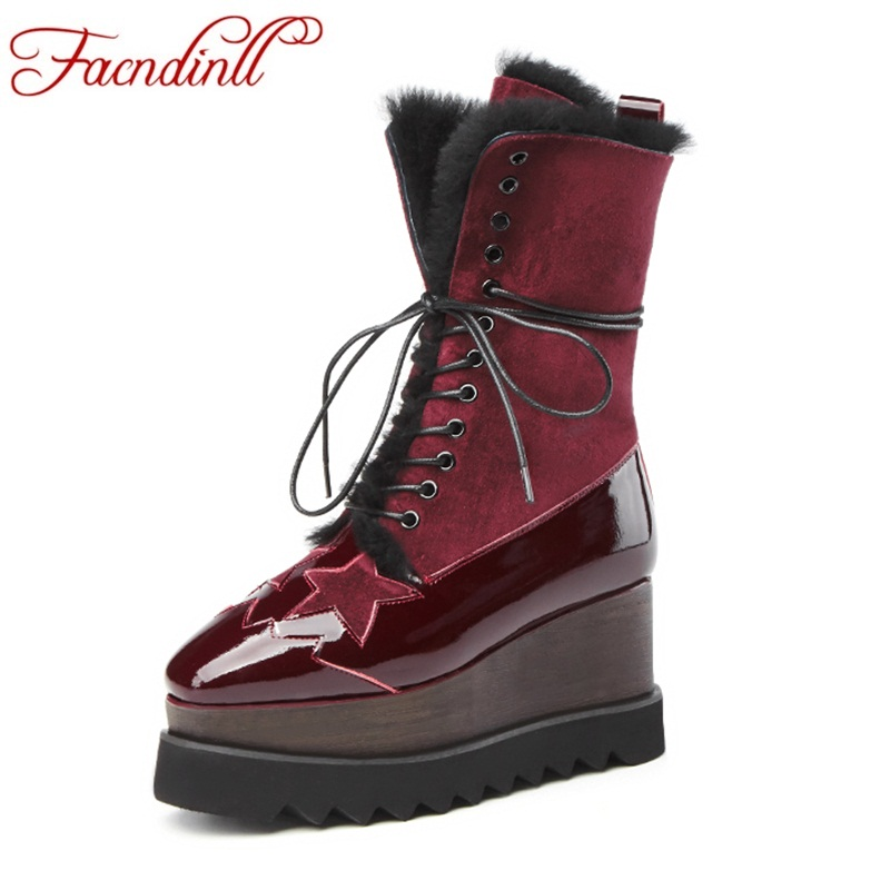 FACNDINLL new fashion women winter snow boots shoes genuine leather wedges high heels platform real fur woman motorcycle boots 11cm heels 2013 new winter high platform soled high heeled snow boots female side zipper rabbit fur thick heels snow shoes h1852