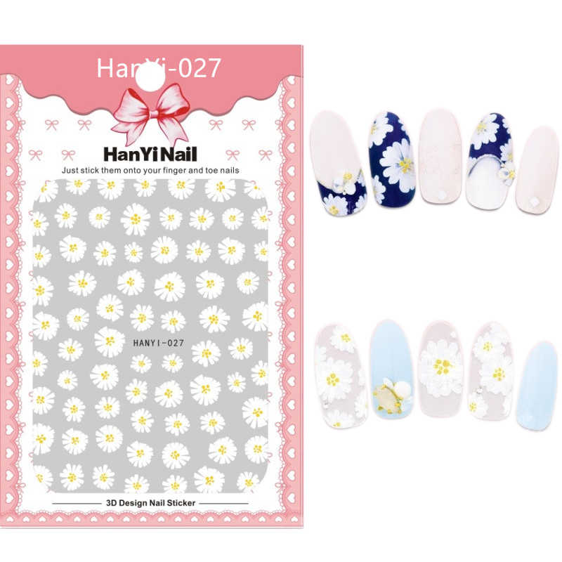 HanYiNail 001-027 Cartoon Mouse Emojo Fantacy Flowers Feather Nails Art Sticker Harajuku Nail Wrap Sticker Tips Manicura sticker