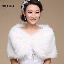 SHAMAI, женские зимние белые свадебные накидки без рукавов, теплые, цвета слоновой кости, искусственный мех, черный, свадебное болеро, кроп, красный, искусственный мех, свадебная куртка