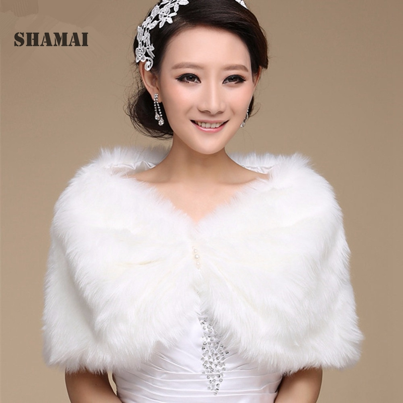 SHAMAI Women Winter Sleeveless White Bridal Wraps Warm Ivory Faux Fur Black Bridal Bolero Crop Red Faux Fur Wedding Jacket
