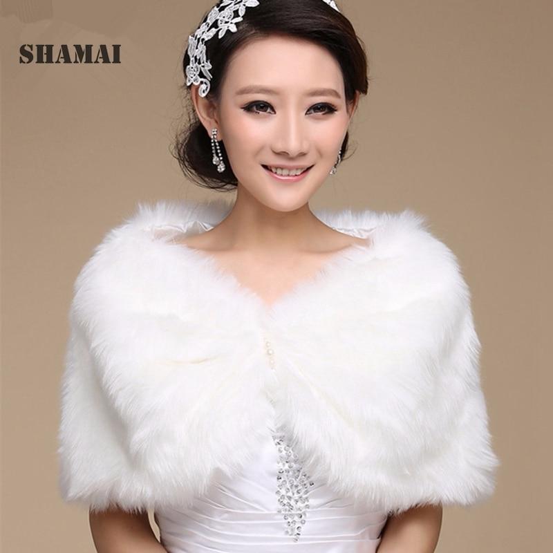SHAMAI Women Winter Sleeveless White Bridal Wraps Warm Ivory Faux Fur Black Bridal Bolero Crop Red Faux Fur Wedding Jacket