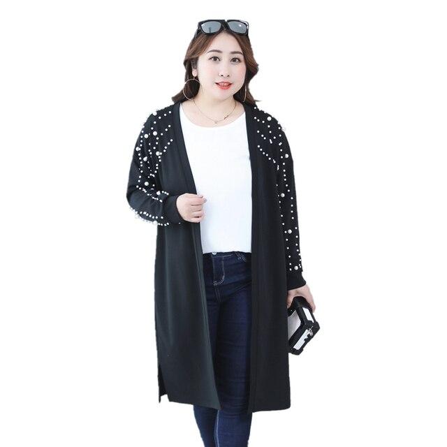 f51fd65ce1a33 Long Cardigan women spring autumn long sleeve outerwear beading black sweater  women plus size 3XL Open Stitch elegant fashion co