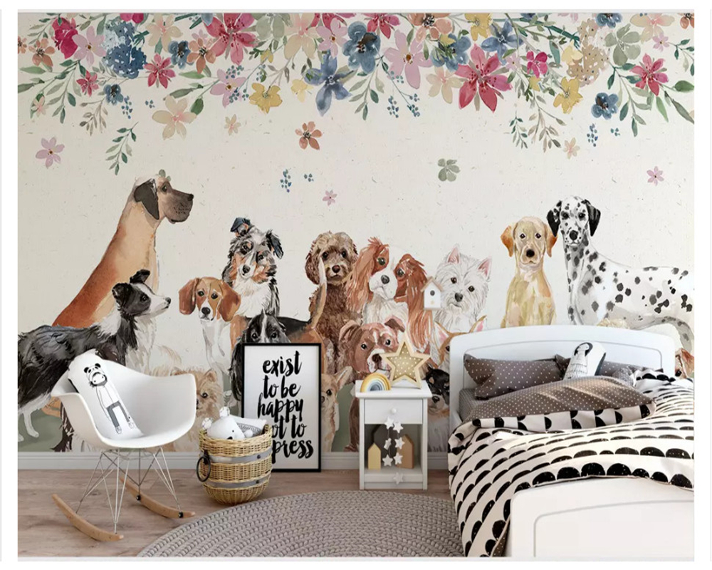 Fotobehang 6 Meter Breed.Us 8 85 41 Off Beibehang Nordic Fashion Character Wall Paper Creative Cute Group Of Puppies Floral Children S Room Background 3d Wallpaper In