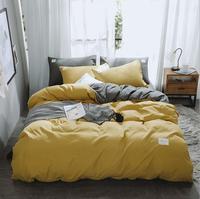Ab lado conjunto de cama super rei capa edredão conjunto amarelo + cinza 4 pçs roupa cama adulto conjunto homem miss folha plana 230*250cm