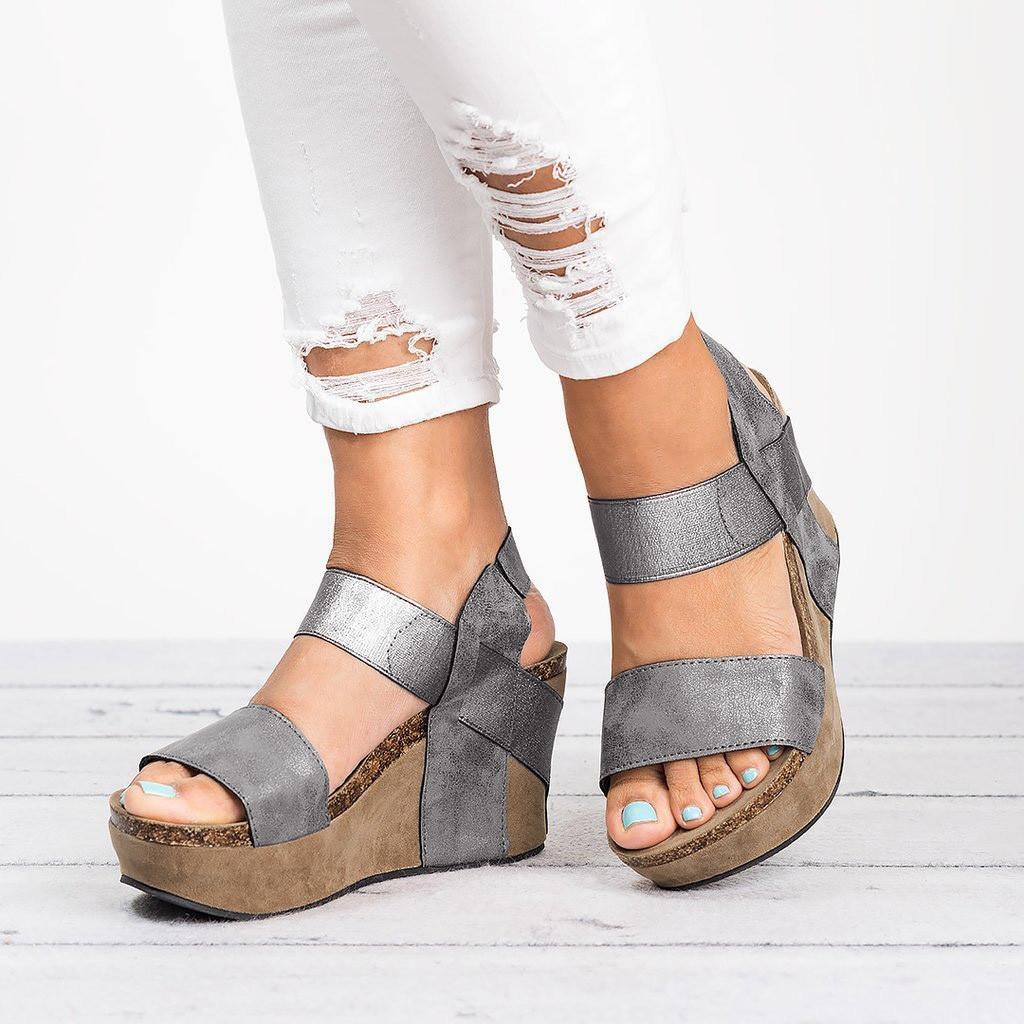 dc393661ba7 Moda De Cuñas Zapatos Mujeres Elástica Gris Las Transpirable Sandalias 2019  Verano Mujer Primavera Casuales Punta Banda Abierta Playa El 5qZTxx