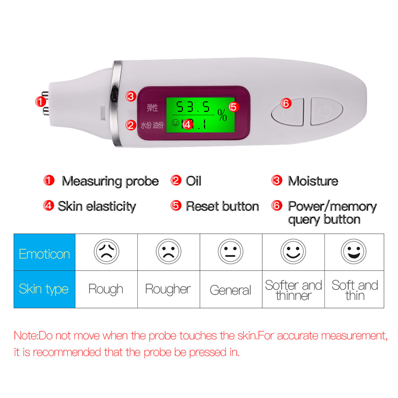 Skin Care Tool Facial Moisture Tester Detector Analyzer Monitor Digital LCD Display Personal Facial Skin Care Moisture Analyzer