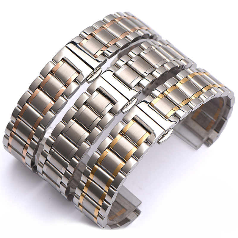 Stainless Steel Watchbands Watch Band Strap Replacement Link Flat Band 5 Beads 14mm 16mm 17mm 18mm 19mm 20mm 21mm 22mm 24mm 26mm 14mm 16mm 17mm 18mm 19mm 20mm 21mm 22mm 23mm 24mm silver black full stainless steel watch strap wacthband for rarone with logo