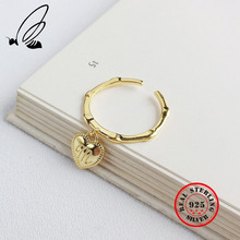 New Heart Letter M Rings 925 Sterling Silver Gold Buckle Design Fashion Adjustable Ring For Women Jewelry Bague Femme Gift