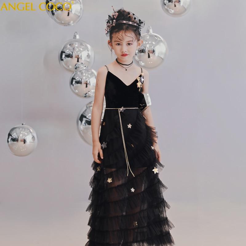 2018 Autumn Winter New Floor Length Children's Dress Girls Star Paragraph Black Strap Evening Dress Robe De Soiree Abendkleider  - buy with discount